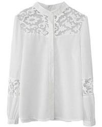 Blusa de botones de encaje blanca