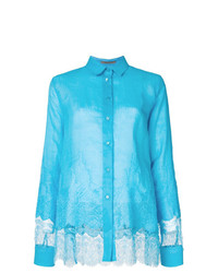 Blusa de botones de encaje en turquesa de Ermanno Scervino