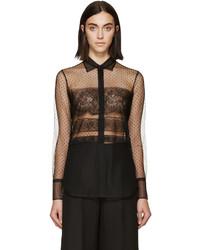 Blusa de botones de encaje negra de Valentino