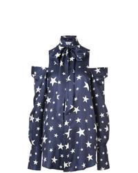 Blusa de botones de estrellas azul marino