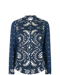 Blusa de Botones de Flores Azul Marino de RED Valentino