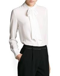 Blusa de botones de gasa blanca