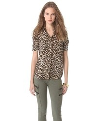 Blusa de botones de gasa de leopardo marrón de Equipment