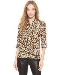 Blusa de botones de leopardo en beige