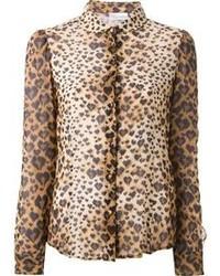 Blusa de botones de leopardo marrón claro
