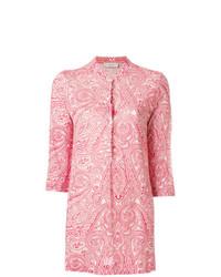 Blusa de botones de lino de paisley roja de Le Tricot Perugia