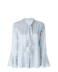 Blusa de botones de rayas verticales celeste de Etro