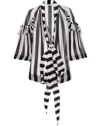 Blusa de botones de rayas verticales en blanco y negro de Givenchy
