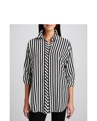Blusa de Botones de Rayas Verticales Negra y Blanca