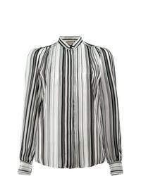 Blusa de Botones de Rayas Verticales Negra y Blanca de Giambattista Valli
