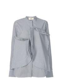 Blusa de Botones de Rayas Verticales Negra y Blanca de Ports 1961