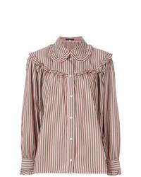 Blusa de botones de rayas verticales rosada de Alexa Chung