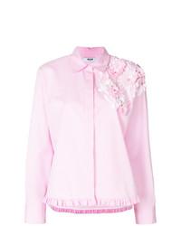 Blusa de botones de rayas verticales rosada de MSGM