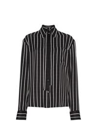 Blusa de botones de satén de rayas verticales en negro y blanco de Haider Ackermann