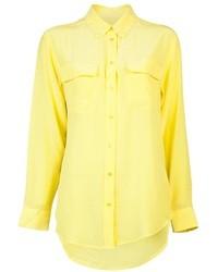 Blusa de botones de seda amarilla