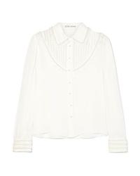 Blusa de botones de seda con adornos blanca de Alice + Olivia