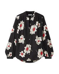 Blusa de botones de seda con print de flores negra de Equipment