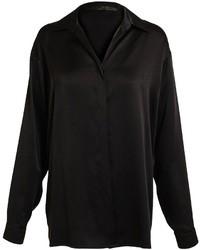 Blusa de botones de seda negra