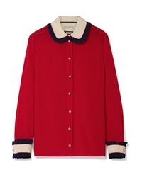 Blusa de botones de seda roja de Gucci