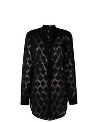 Blusa de botones en zig zag negra de Marcelo Burlon County of Milan