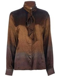 Blusa de botones marrón