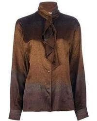 Blusa de botones marrón de Gucci