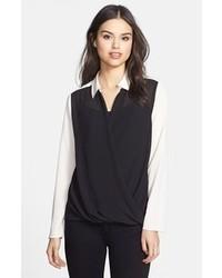 Blusa de botones negra y blanca original 4300491
