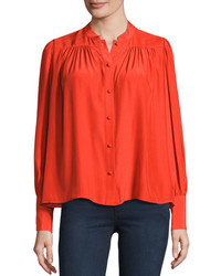Blusa de botones roja