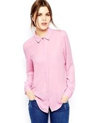 Blusa de botones rosada de Asos