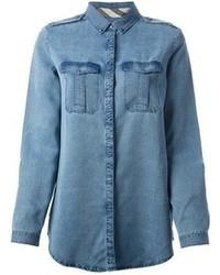 Blusa de botones vaquera azul de Burberry