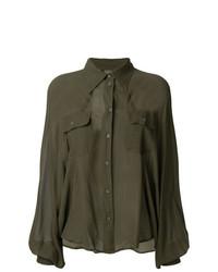 Blusa de botones verde oliva de MM6 MAISON MARGIELA