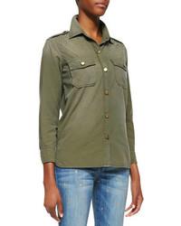 Blusa de botones verde oscuro