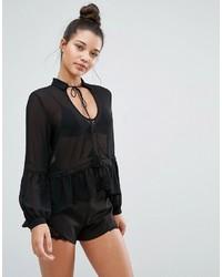 Blusa de crochet negra de Missguided