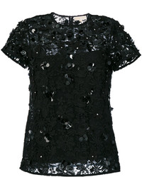 Blusa de encaje con print de flores negra de MICHAEL Michael Kors