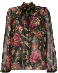 Blusa de gasa estampada negra de Dolce & Gabbana