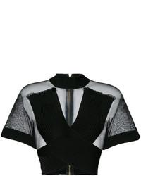 Blusa de malla negra de Balmain