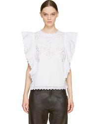Blusa de manga corta con ojete blanca de Etoile Isabel Marant
