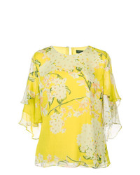 Blusa de manga corta con print de flores amarilla de Josie Natori