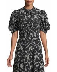 Blusa de manga corta con print de flores negra