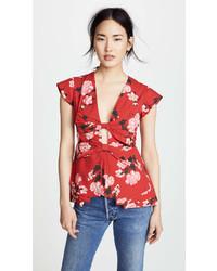 Blusa de manga corta con print de flores roja
