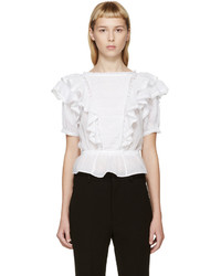 Blusa de manga corta con volante blanca de Etoile Isabel Marant