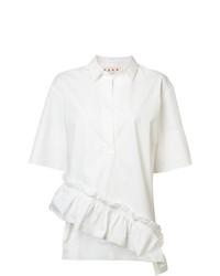 Blusa de manga corta con volante blanca de Marni