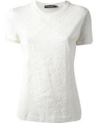 Blusa de manga corta de encaje blanca