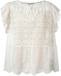 Blusa de manga corta de encaje blanca de Stella McCartney