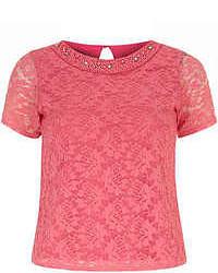 Blusa de manga corta de encaje rosa