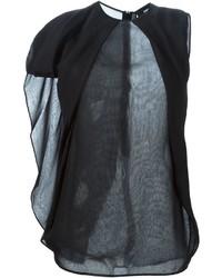 Blusa de manga corta de gasa negra de Dsquared2