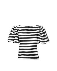 Blusa de manga corta de rayas horizontales en blanco y negro de Bambah