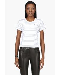 Blusa de manga corta de rayas horizontales en blanco y negro de Dsquared2