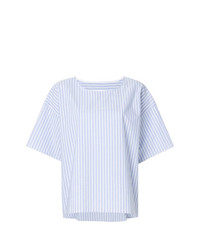 Blusa de manga corta de rayas verticales celeste de MM6 MAISON MARGIELA