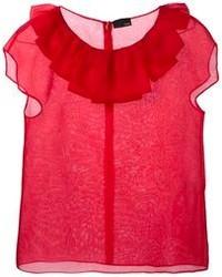 Blusa de manga corta de seda roja de Fendi